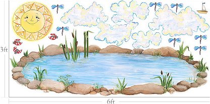 Safari theme baby shower buzzle party invitations ideas for Duck pond mural