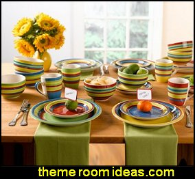 Santa Fe Hand-Painted Striped Stoneware Dinnerware - 16-piece Santa Fe Hand-  sc 1 st  bedrooms theme decorating ideas & southwest style decorating ideas - southwestern theme bedroom ...